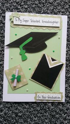 Handmade Graduation card-grandaughter,cap,gown,scroll,green