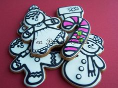 Christmas Colouring Page Cookies - by Tea Party Cakes @ CakesDecor.com - cake decorating website
