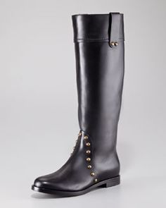 Sergio Rossi Studded Leather Tall Boot