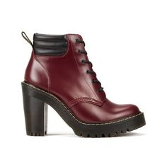 Dr. Martens Women's Seirene Persephone 6-Eye Padded Collar Heeled... (255 CAD) ❤ liked on Polyvore featuring shoes, boots, red, black lace up boots, lace up heel boots, leather heel boots, heel boots and black leather boots