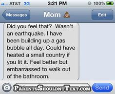 Earthquake | #Funny #Texts | On Parents Shouldn't Text