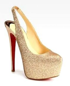 Christian Louboutin - Dafsling Glittery Leather Slingback Platform Pumps, need these for my wedding shoes! Cheap Christian Louboutin, Red Bottom Shoes, Shoes Outlet, Platform Pumps, Pump Shoes, Cl Shoes, Wedding Shoes, Dream Wedding, Wedding Dresses