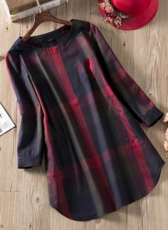 Long Sleeve Above Knee Shift Dress - Floryday Stylish Dresses For Girls, Stylish Dress Designs, Designs For Dresses, Casual Dresses, Kurta Designs, Kurti Designs Party Wear, Blouse Designs, Frock Fashion, Women's Fashion Dresses