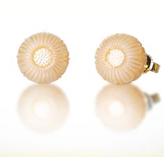 "Galatea: November Pearl Flower - 10mm Pearl Earrings carved into the shape of a Chrysanthemum. Set in 14K Gold. From the ""Pearl Flowers"" collection."