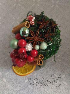 Bombka z naturalnych dodatków - LenKa-art - Dekoracje bożonarodzeniowe
