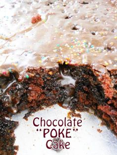 """Chocolate """"POKE"""" Cake....Learn how to make this moist, chocolate drenched cake...from scratch!!"""