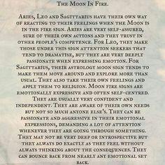 Astrology: Moon in Fire Signs (Aries, Leo, Sagittarius Zodiac Signs)