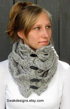 Vented Wool Toggle Cowl Chunky Cowl Gray Tweed or CHOOSE Your Color