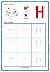 Tracing Letters - Letter Tracing Worksheets - Capital H - Free Preschool Printables Free Printable Alphabet Worksheets, Alphabet Writing Worksheets, Alphabet Writing Practice, Letter Worksheets For Preschool, Alphabet Tracing, Free Preschool, Learning Letters, Preschool Printables, Free Printables