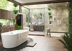 Tropical bathroom theme will work for adults and children. Tropical decor is a great way to brighten up the small bath or turn the master bathroom into a retreat. You can design a tropical bathroom for a sense of elegance,… Continue Reading → Tropical Bathroom Decor, Zen Bathroom Design, Bathroom Spa, Bathroom Interior Design, Bathroom Ideas, Bathroom Mirrors, Remodel Bathroom, Bathroom Designs, Bathroom Organization