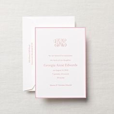 Pretty in pink, an engraved, hand-bordered birth announcement for the baby girl who will most certainly grow up to adore Mr. Darcy and dinner parties.