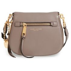 Women's Marc Jacobs 'small Recruit' Pebbled Leather Crossbody Bag (345 CAD) ❤ liked on Polyvore featuring bags, handbags, shoulder bags, mink, zip purse, brown cross body purse, pocket purse, crossbody saddle bag purse and brown handbags