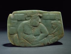 Large Jade Plaque: Fat Lord and Frog, Guatemalan Lowlands. Late Classic Maya, A.D.700-900, Light green jade. , L. 11.8 cm. (4 1/8 inches); Ht. 7.7 cm. (3 inches);, D. 1.3 cm. (1/2 inches), [F] 91.106.0.1 K6378, Digital ID# kc0058, © Justin Kerr - The Cultures and History of the Americas: The Jay I. Kislak Collection at the Library of Congress | Exhibitions (Library of Congress)