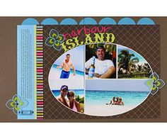 Scrapbook Vacation Photos With A Quick Photo Collage Template  Design by Amy Light    a quick and easy vacation scrapbook page with a digital photo collage. She framed the date in a label holder & attached flowers with brads for extra interest.     Editor's Tip: Use photo collages to easily divide travel photos between two pages. Amy cut her photo collage template along a photo dividing line, then placed the pieces on either side of the two-page layout seam