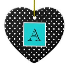 Cute Heart Shaped Ornament, Black & White Polka Dots with Aqua, add your Initial on the Aqua Label #Christmas #ornament #heart #monogram