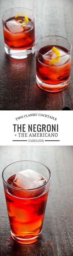 Two beautiful, classic cocktail recipes -- the stiff Negroni and the lighter, bubblier Americano.  via @umamigirl
