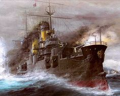 Borodino Class Battleships (1904-05). The Russian flagship Kniaz Suvorov heading into battle at Tsushima, where three-quarters of her class met annihilation. The battleship was built at the Baltic Works in Riga, Latvia for the Imperial Russian Navy as part of a spendthrift buildup of the Russian fleet for the expected conflict with Japan. The Borodino class were badly jobbed Russian copies of the battleship Tsesarevich built for Russia at Brest, 1899-1903.