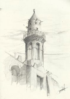 Minaret of Amr ibn al-As mosque, Fustat, Cairo. Pencil drawing using ( H-HB-2B ). Copyright © 2015 [Hossam el yamani]. All Rights Reserved.