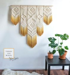 "Macrame Wall Hanging – Macrame Curtain – Macrame Wall Art – Geometric Art – Wall Tapestry – Macrame Headboard – Dyed Boho Ombre – ""ISA"" Hand Made – Wall Hanging Macrame Design, Macrame Art, Macrame Projects, Macrame Curtain, Large Macrame Wall Hanging, Macrame Patterns, Geometric Art, Wall Tapestry, Tapestry Bedroom"