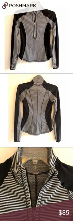 LULULEMON ATHLETICA, HALF ZIP JACKET Sz 2 LULULEMON Athletica Black white stripe half zip jacket, have small back pocket and has thumb holes. Size: 2 Good Condition No returns allowed. Please ask all questions before buying. Thank you for looking and please check out the rest of my closet🎀. lululemon athletica Jackets & Coats