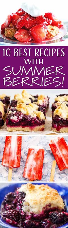 Here are all of my favorite ways to use fresh summer berries, from Blueberry Crumb Bars to Strawberry Yogurt Pops. Fruit Recipes, Summer Recipes, Whole Food Recipes, Snack Recipes, Just Desserts, Delicious Desserts, I Love Food, Good Food, Blueberry Crumb Bars