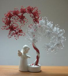 Guardian Angel of Love Wire Tree Sculpture, Dot Art Painting, Wire Trees, Flower Lights, Seed Bead Jewelry, Wire Crafts, Diy Arts And Crafts, Beads And Wire, Wire Art