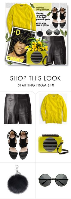 """""""Leather shorts"""" by sweta-gupta ❤ liked on Polyvore featuring Fleur du Mal, J.Crew, Marc by Marc Jacobs, Lalé and Leather"""