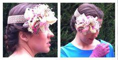 MODELO B107 - Tocado de cinta elástica con flor en tonos rosas y beige