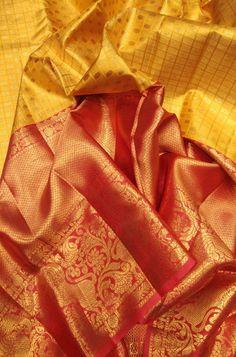 Yellow Checks Handloom Kanjeevaram Pure Silk Saree With Big Border   #kanjeevaramsaree#
