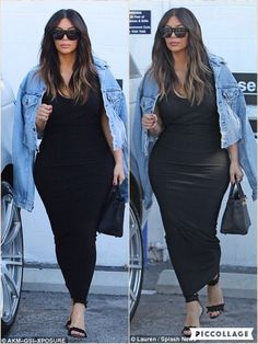 With a jean jacket from her husband's own fashion collection in hand, Kim stepped out looking incredible with her black choker necklace and stiletto heels. She sported her usual glam hairstyle, wearing her glossy brunette strands down in long full waves that were parted in the center