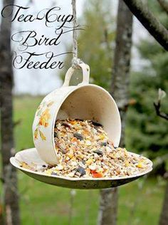 Great DIY Birdfeeder! Easy to make...cup and saucer add some Elmer\'s glue and you\'re good to go!!