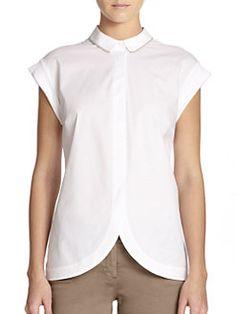 Peserico - Embellished Tulip-Hem Shirt