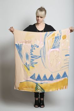 // Fort Makers, Nude Painted Silk Scarf.