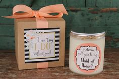 Will you be my Bridesmaid Gift // Will you be my Maid of Honor Gift // Bridesmaid Candle // Maid of Honor Candle // Bridesmaid Gift Idea by lulusugar on Etsy https://www.etsy.com/listing/240580381/will-you-be-my-bridesmaid-gift-will-you