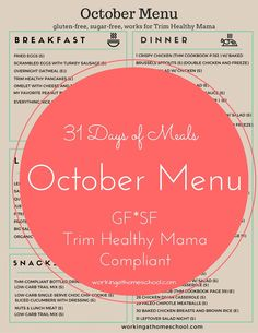 Meal Plan for Trim Healthy Mama - a whole month of meals - gluten-free and sugar-free