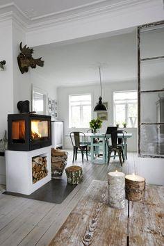 Veel hout en een stoere kachel en toch heel huiselijk en warm. #pintratuin