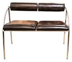 Would be beautiful in a wide call: 1970's Chrome Seat Re-covered in Black Leather