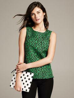 Banana Republic Textured Green Shell - women's fashion / clothing / apparel