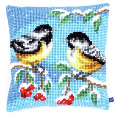 Vervaco - Cross Stitch Cushion Front Kit - Two Birds in Winter