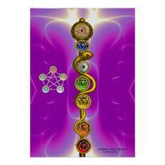 ROD OF ASCLEPIUS WITH 7 CHAKRAS ,SPIRITUAL ENERGY Digital Art Print by Bulgan Lumini (c)