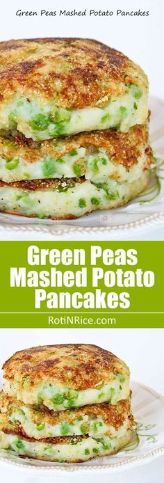Green Peas Mashed Potato Pancakes - humble and tasty mashed potatoes dressed up with green peas and pan fried. Delicious as a side dish or snack.   http://RotiNRice.com