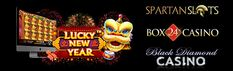 BOX 24, BLACK DIAMOND & SPARTAN SLOTS - 'LUCKY NEW YEAR' - 25 FREE SPINS + 200% MATCH - NEW PLAYERS - Lucky New Year' is LIVE at Black Diamond, Spartan Slots and Box 24! The game is from Pragmatic Play.