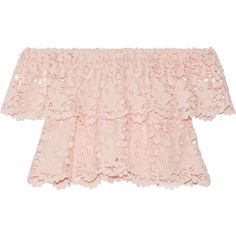 Miguelina Angelica off-the-shoulder layered cotton-lace top (435 AUD) ❤ liked on Polyvore featuring tops, pastel pink, pastel crop top, pink lace top, off the shoulder tops, pink top and cropped tops
