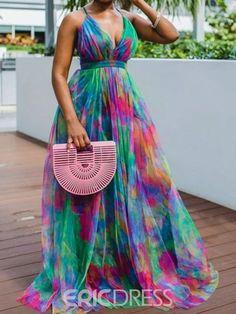 Ericdress Print V-Neck Floor-Length High Waist Color Block Women's Dress Cute Dresses, Sexy Dresses, Summer Dresses, Sleeveless Dresses, Summer Maxi, Casual Summer, Fall Dresses, Cheap Dresses, Evening Dresses