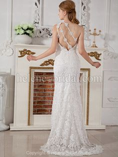 Wedding Dresses Pictures - Sheath / Column High Low One Shoulder Scalloped-Edge Natural Waist Non-Strapless Tank Chiffon Wedding Dress - Style WD6189