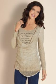 Women's Love Letter Top - Soft Knit Top, Asymmetrical Blouse, Ladies Long Sleeve Top | Soft Surroundings