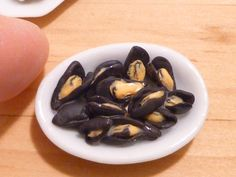 Miniature Dollhouse Mussels in a Bowl Seafood by MinnieKitchen on Etsy https://www.etsy.com/listing/222471253/miniature-dollhouse-mussels-in-a-bowl