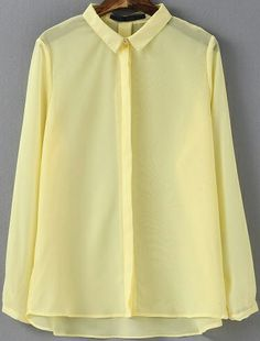 Yellow Lapel Long Sleeve Sheer Chiffon Blouse US$19.56