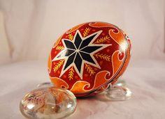 Chicken Pysanky EggPysanka  Bright Red Orange by GoldenEggPysanky