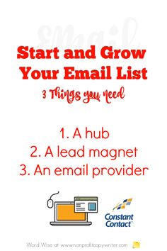 Start and grow your email list: a simple tutorial with Word Wise at Nonprofit Copywriter Writing Websites, Email Writing, Writing Resources, Writing Tips, Email Providers, Email Service Provider, Internet Marketing, Online Marketing, Business Emails